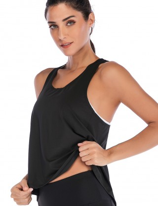 Running Black Slit V Type Back Yoga Tank Top Tight