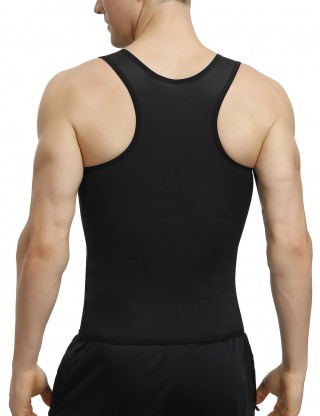 Black Zip Hooks 2 Layered Racerback Mens Tank Shaper Large Size Slim Waist