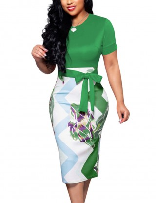 Effective Green Split Back Knot Short Sleeve Tight Midi Dress Outfit