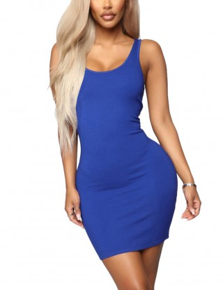 Eye-Catching Blue Plain Scoop Neck Backless Bodycon Dress Super Sexy