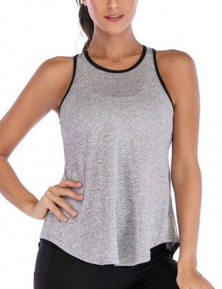 Brilliant Grey Racerback Sports Hollow Tank Tops Piped Trim Leisure Time