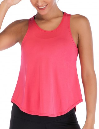 Flattering Watermelon Red Hollow Sleeveless Sweat Top Scoop Neck
