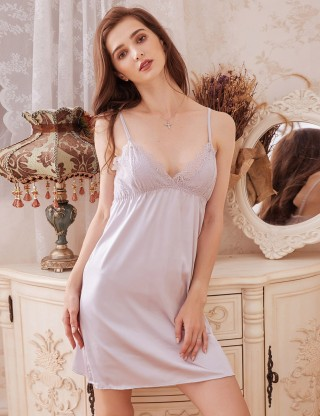 Intimate Pink Backless Faux Silk Adjustable Straps Chemises Slim Fit Style