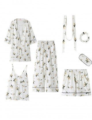 Pretty White Magnolia Sling Pocket Cardigan Belt 7 Pcs Sleepwear Mature Female
