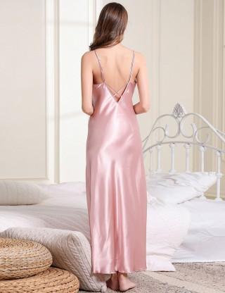 Attractive Pink Criss Cross Maxi Length Backless Sleepwear Sling Dissolute Time