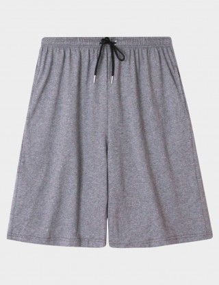 Grey Cotton Drawstring Sleepwear Bottom Men Comfortable Fabric