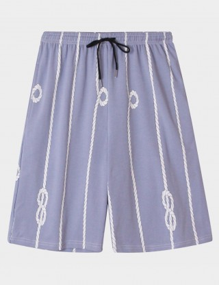 Tempting Cotton Men Print Nightwear Shorts Drawstring Wholesale