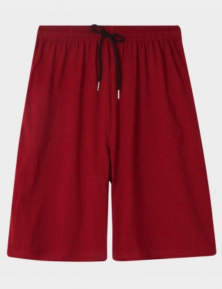 Breath Jujube Red Men Nightwear Cotton Drawstring Shorts Trendy
