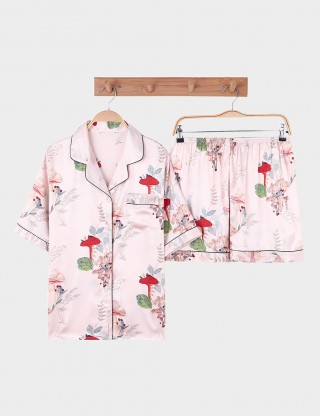 Tempt And Tease Faux Silk Floral Print Short Sleepwear Set Women
