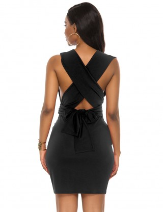 Entrancing Black Sleeveless Backless V Neck Mini Bodycon Dress