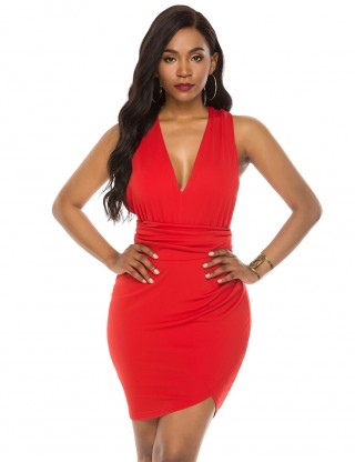 Holiday Red Deep V Neck Changeable Straps Mini Bodycon Dress