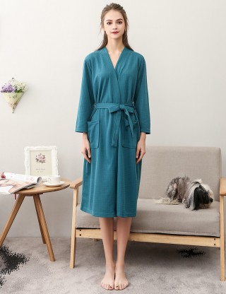 Blackish Green Knee Length Long-Sleeved Solid Color Robe Plus Size Standard Fit