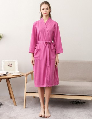 Luscious Rose Red Wrap Solid Color Knee Length Night-Robe Large Size Wholesale