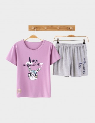 Cheap Cotton Alphabet Printing Big Size Sleepwear Set Lightweight Fabric