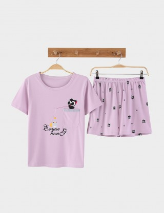Stretch Cartoon Pattern Plus Size Cotton Nightwear Set Holiday Sale