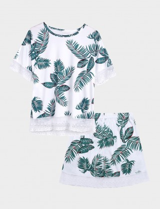 Women Leaf Print Shorts Lace Sleepwear 2 Pieces Close Fitting Style