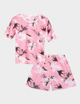 Pink Printed Crew Neck Short Sleeves Big Size Sleepwear Set Close Style