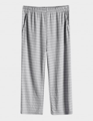 Intrigued Light Grey Stripes Print Nightwear Pockets Bottom Big Size