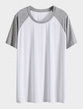 Spellbound White Men Contrast Color Big Size Sleepwear Top Round Neck Online