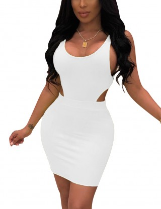 Versatile White 2 Pce Cut Out Plain Top And Hip Skirt Female Charm