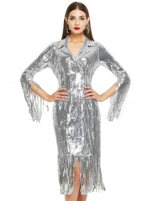 Slinky Silver Sequins Fringe Cuffs Tight Bandage Dress Feminine Grace