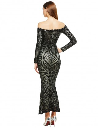 Distinctive Black Off Shoulder Sequin Back Zipper Bandage Dress