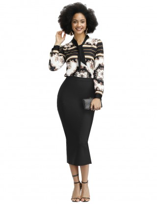 Stretchy Black Totem Floral Print Top And Pencil Skirt