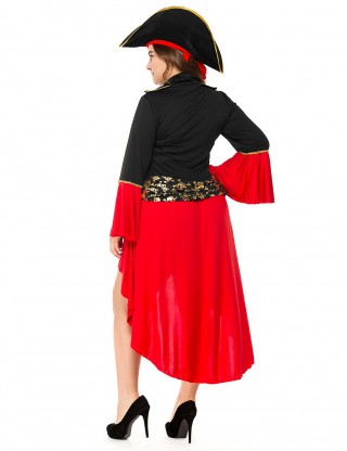Particularly Red Pirate Costume Lace-Up High Low Large Size