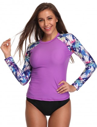 Purple Print Round Neck Plain Training Shirt Ladies Fashion