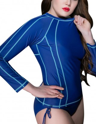 Tight Blue Plus Size Round Neck Long Sleeves Sport Top Ultra Hot