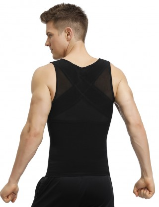 High Quality Black Mesh Men's Tank Shaper Zipper Cross Back