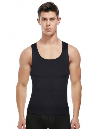 Powerful Black U-Neck Seamless Men's Tank Shaper Strap Super Sexy
