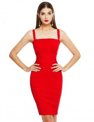 Red Double Straps Zipper Tie Waist Bandage Dress Feminine Confidence