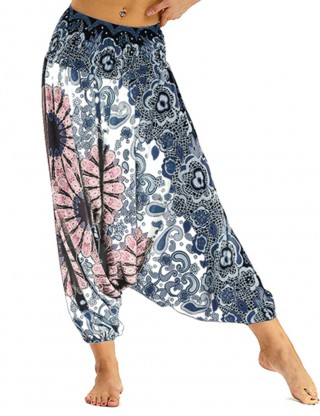 Scintillating Flower Printing Wide Legs Baggy Pants Ultimate Comfort