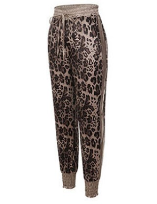 Illusion Drawstring Ankle Length Pants Leopard Pattern Womens Latest