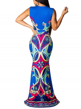 Exceptional Blue Tribal Pattern Deep V Neck Fishtail Dress Women Clothes