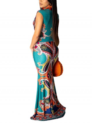 Multi-Function Green African V Neck Sleeveless Fishtail Dress For Upscale
