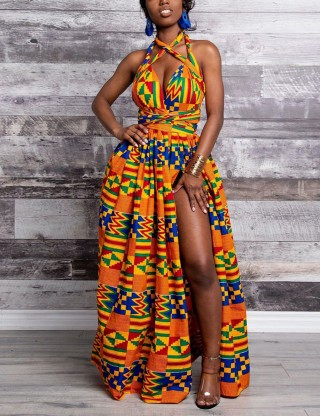 African Waist Knot Sleeveless Maxi Dress Fashion Ideas