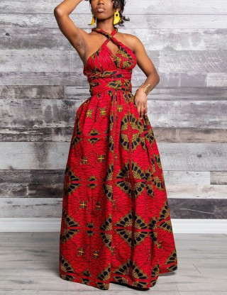 Backless Tribal Multi-Way Maxi Dress Slit Eye Catcher
