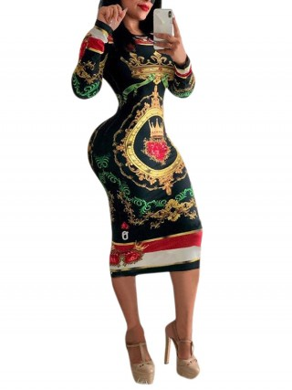 Characteristic Black Round Neck African Midi Bodycon Dress Fashion Online