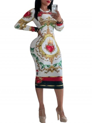 Sunshine White Long Sleeve African Dress Round Neck Lightweight