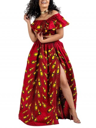 Leisure One Shoulder African Print Two Pieces Sexy Fashion