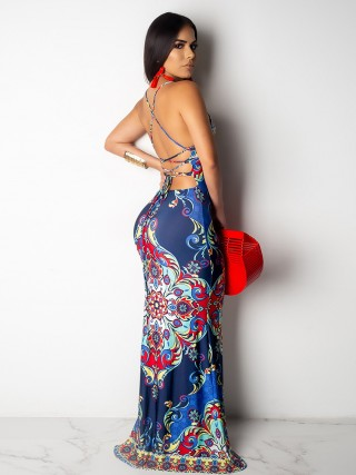 Breathable Deep Blue Ethnic Printing Maxi Dress Back Cross Elegance