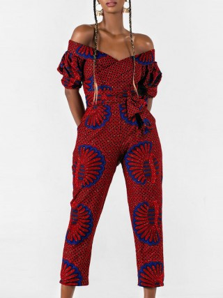 Flirting One Shoulder Digital Print Tie Jumpsuit Ladies