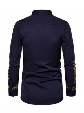 Homelike Purplish Blue Long Sleeve Stand Collar Tribal Shirt Casual Clothing