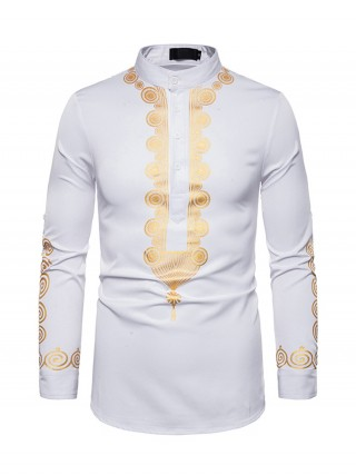 Vivid White Full Sleeve Male Shirt Standing Collar Online Shopping