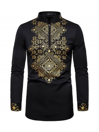 Vibrant Black African Hot Stamping Zipper Men Top High Elasticity