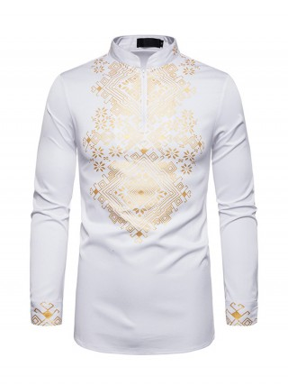 Modest White Gold Stamping Men Full Sleeve Shirt Capture Elegance