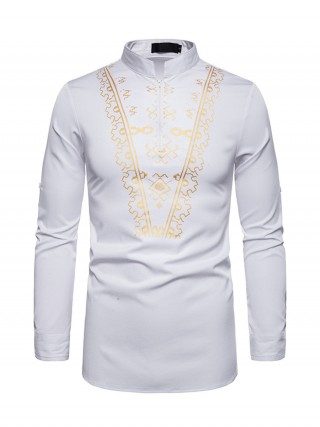 Distinctive White Standing Neck African Men Zipper Shirt For Playing