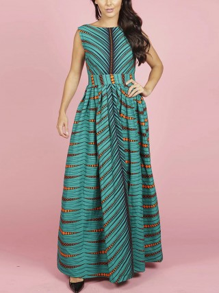 Vibrant Open Back Maxi Dress Symmetrical Print For Stunner